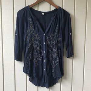 Anthropologie TINY Button Front Embroidered Top